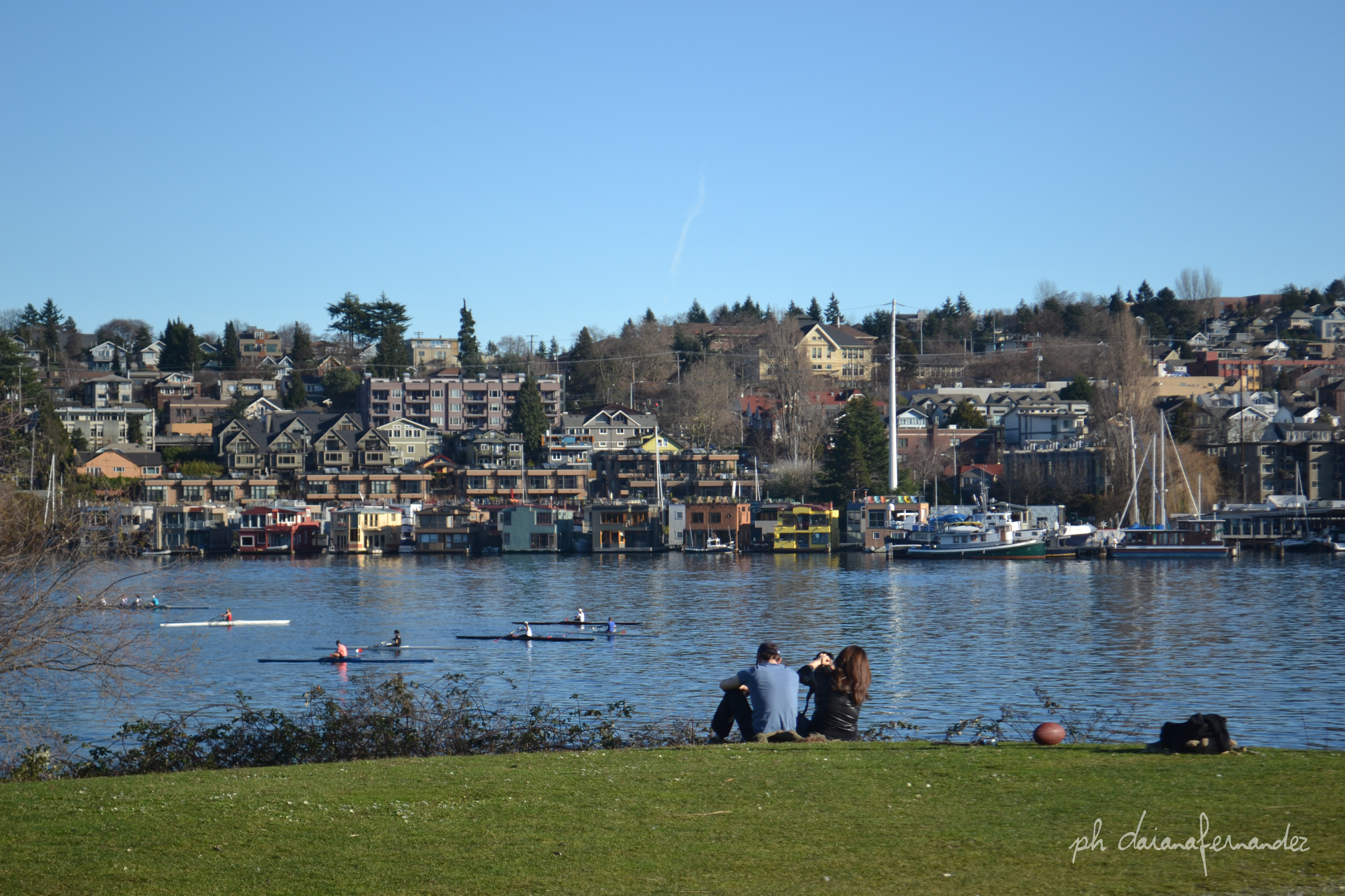 Vivir en Seattle Vista a Lake Union desde Gasworks Park
